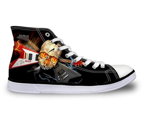Heavy Metal Skull CanvasvShoes - Men's High Top