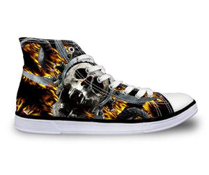Free Fall Skull Canvas Shoes - Men's High Top