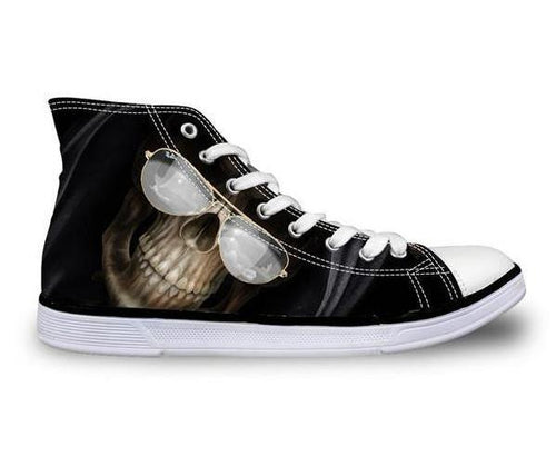 Pilot Shades Skull Canvas Shoes - Men's High Top
