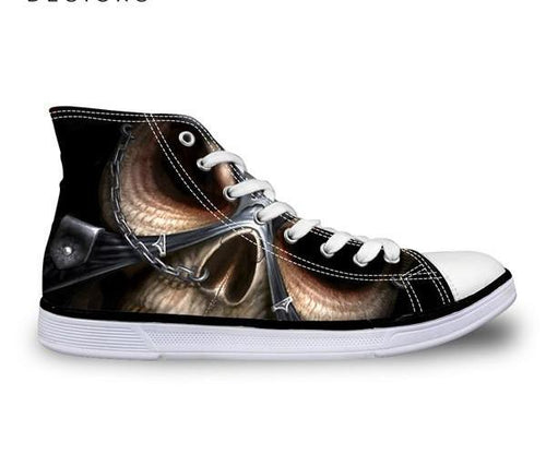 Samurai Skull Shoes Canvas - Men's High Top