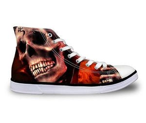 Inferno Skull Canvas Shoes - Men's High Top