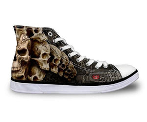 Catacomb Skulls Canvas Shoes - Men's High Top