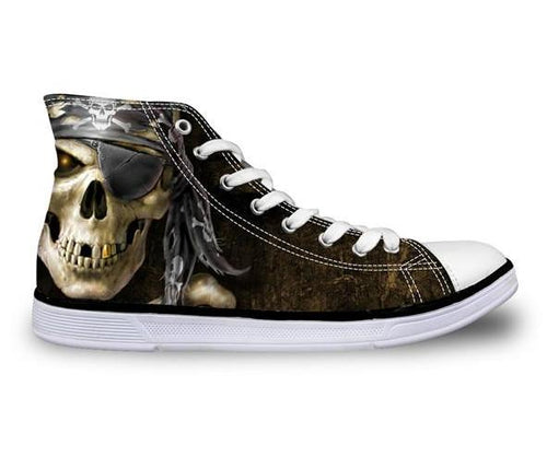 Pirate Skull Canvas Shoes - Men's High Top