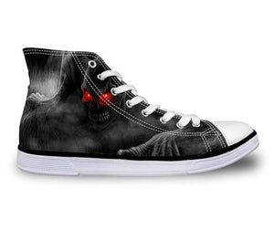 Demon Skull Canvas Shoes - Men's High Top