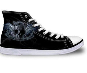 Wing Skull Canvas Shoes - Men's High Top