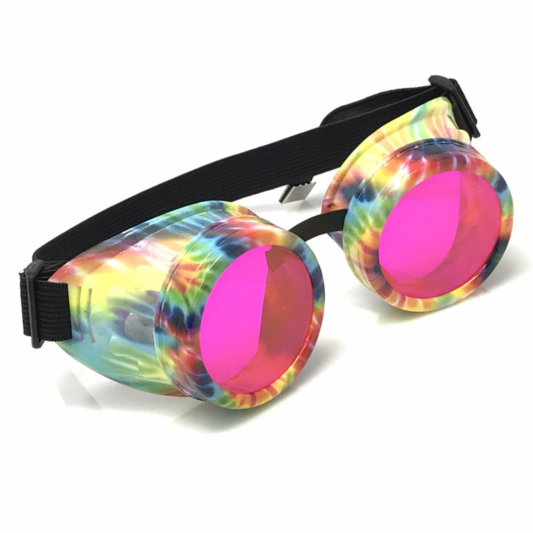 UV Glow in The Dark Steampunk Goggles Retro Round Rave Glasses, Rainbow Frame- Neon Pink Paste Lenses