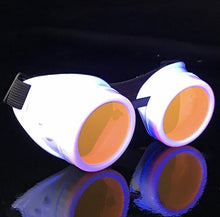 Load image into Gallery viewer, UV Glow in The Dark Steampunk Goggles Retro Round Rave Glasses, White Frame- Neon Orange Lenses