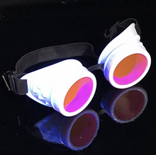 Load image into Gallery viewer, UV Glow in The Dark Steampunk Goggles Retro Round Rave Glasses, White Frame- Neon Pink Lenses