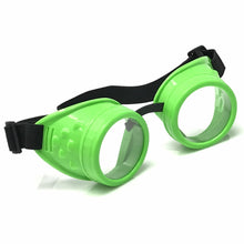 Load image into Gallery viewer, UV Glow in The Dark Steampunk Rave Goggles Prism Diffraction Retro Round Glasses neon green frames clear lenses