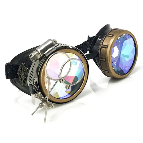 steampunk goggles rave glasses kaleidoscope lenses ocular loupes