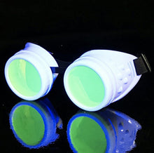 Load image into Gallery viewer, UV Glow in The Dark Steampunk Goggles Retro Round Rave Glasses, White Frame- Neon Green Lenses