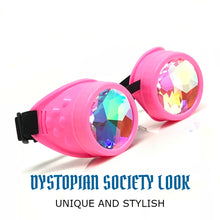 Load image into Gallery viewer, Rave Kaleidoscope Glasses for EDM music festival, Steampunk Diffraction Goggles, Neon baby pink frame