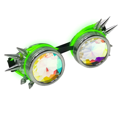 LED Light up Goggles Glow in the Dark, Kaleidoscope Rave Glasses, Green El Wire, Shiny Silver Spiked Steampunk Diffraction Goggles