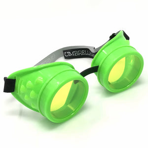 UV Glow in The Dark Steampunk Goggles Retro Round Rave Glasses- Neon Green Frame- Neon Green Lenses