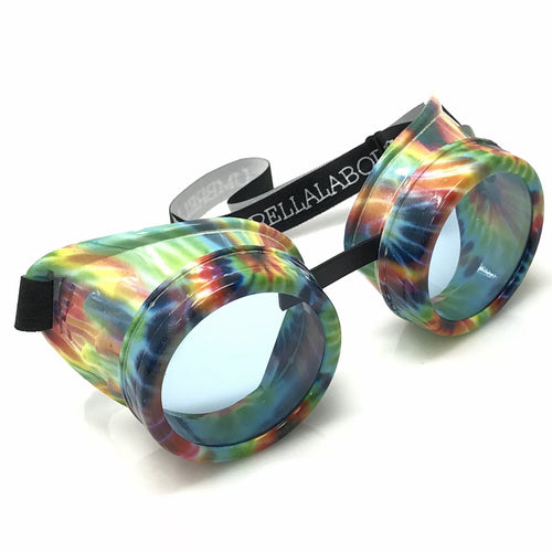 UV Glow in The Dark Steampunk Goggles Retro Round Rave Glasses, Rainbow Frame- Neon Blue Lenses