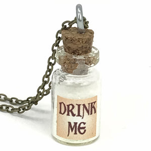 Alice in wonderland drink me necklace