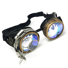 Load image into Gallery viewer, Steampunk Goggles in Victorian style with Compass Design, 3D Kaleidoscope lenses & ocular Loupe