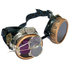 Steampunk Goggles in Victorian style with Compass Design, purple lenses & ocular Loupe