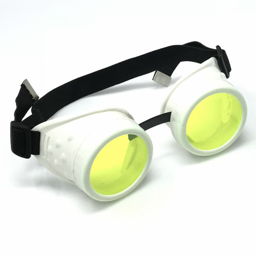 UV Glow in The Dark Steampunk Goggles Retro Round Rave Glasses, White Frame- Neon Green Lenses