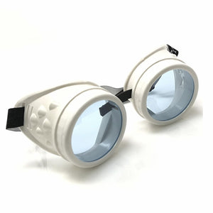 UV Glow in The Dark Steampunk Rave Goggles Prism Diffraction Retro Round Glasses white frame  neon blue lenses