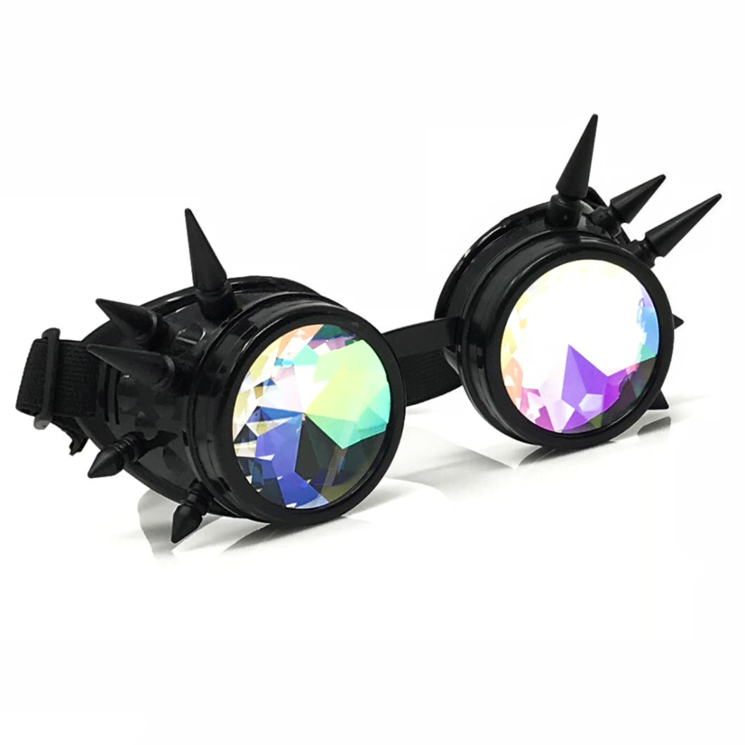 Rave Kaleidoscope Glasses for EDM music festival, Steampunk Diffraction Goggles, black spiked frame