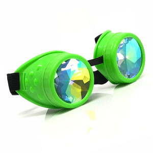 Rave Kaleidoscope Glasses for EDM music festival, Steampunk Diffraction Goggles, Neon Green frame