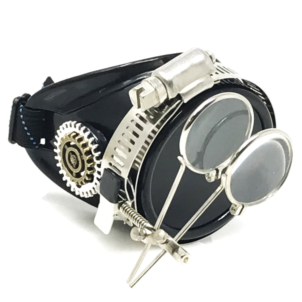 Steampunk Monocle Eyepatch Goggles- Rave Glasses, ocular loupes, black lens