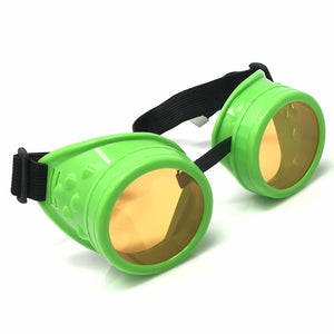 UV Glow in The Dark Steampunk Goggles Retro Round Rave Glasses- Neon Green Frame- Neon Orange Lenses
