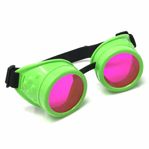 UV Glow in The Dark Steampunk Goggles Retro Round Rave Glasses- Neon Green Frame- Neon Pink Lenses