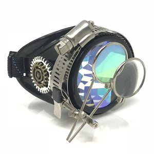 Steampunk Monocle Eyepatch Goggles- Rave Glasses, ocular loupes, Kaleidoscope lens