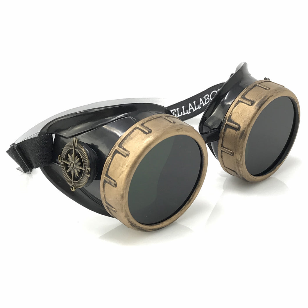 Steampunk Goggles in Victorian style with Compass Design and Black Lenses