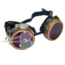 Load image into Gallery viewer, Steampunk Goggles in Victorian style with Compass Design, purple lenses & ocular Loupe