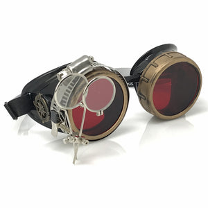 Steampunk Goggles in Victorian style with Compass Design, Rose Red lenses & ocular Loupe