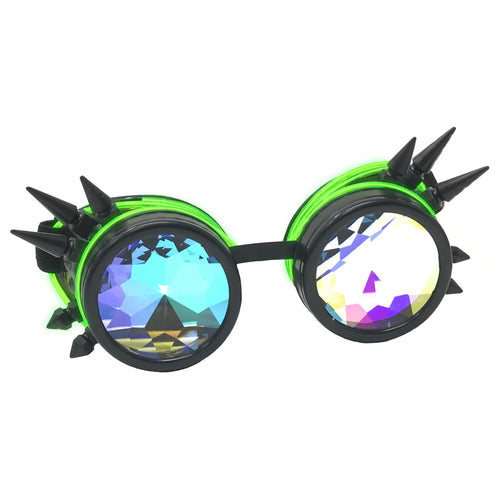 LED Light up Goggles Glow in the Dark, Kaleidoscope Rave Glasses, Green El Wire, Black Spiked Steampunk Diffraction Goggles