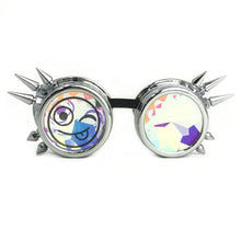 Load image into Gallery viewer, Funny Party Rave Kaleidoscope Party Glasses, Silver Spiked, meme Emoji