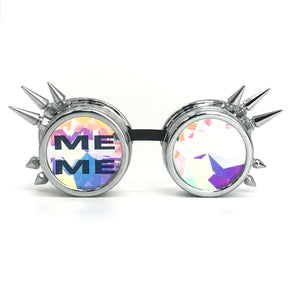 Funny Party Rave Kaleidoscope Party Glasses, Silver Spiked, meme Emoji