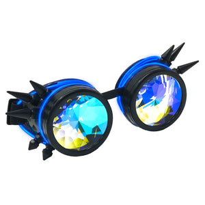 LED Light up Goggles Glow in the Dark, Kaleidoscope Rave Glasses, Blue el Wire, Black Spiked Steampunk Diffraction Goggles