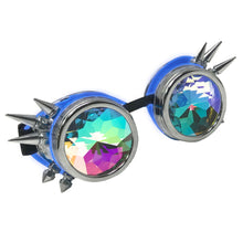 Load image into Gallery viewer, LED Light up Goggles Glow in the Dark, Kaleidoscope Rave Glasses, Blue El Wire, Shiny Silver Spiked Steampunk Diffraction Goggles