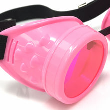 Load image into Gallery viewer, UV Glow in The Dark Steampunk Goggles Retro Round Rave Glasses- Neon Pink Frame- Neon Pink Lenses