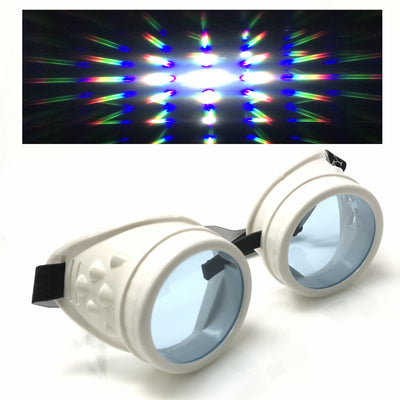 rave diffraction goggles steampunk glasses umbrellalaboratory