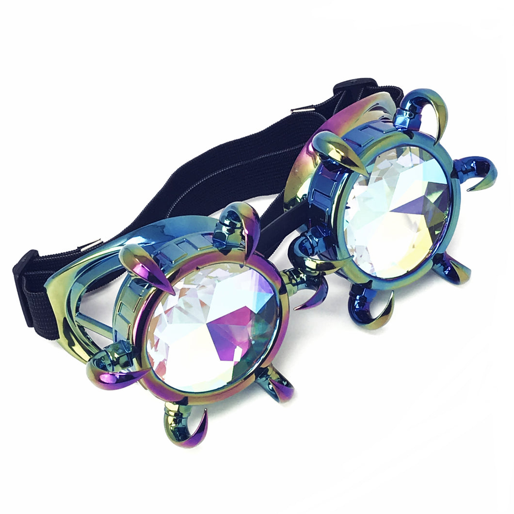 Rave Kaleidoscope Glasses for EDM music festival, Steampunk Diffraction Goggles, Claw Spiked frame
