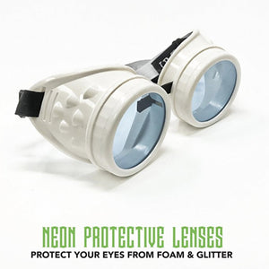 UV Glow in The Dark Steampunk Goggles Retro Round Rave Glasses, White Frame- Neon Blue Lenses