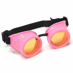 UV Glow in The Dark Steampunk Goggles Retro Round Rave Glasses- Neon Pink Frame- Neon Orange Lenses
