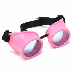 UV Glow in The Dark Steampunk Goggles Retro Round Rave Glasses- Neon Pink Frame- Neon blue Lenses