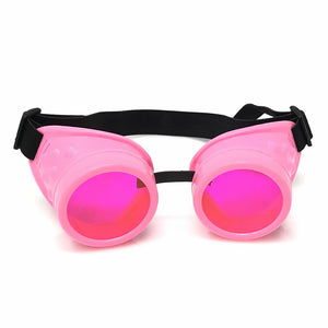 UV Glow in The Dark Steampunk Goggles Retro Round Rave Glasses- Neon Pink Frame- Neon Pink Lenses