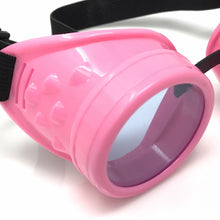 Load image into Gallery viewer, UV Glow in The Dark Steampunk Goggles Retro Round Rave Glasses- Neon Pink Frame- Neon blue Lenses