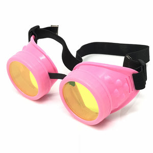 UV Glow in The Dark Steampunk Goggles Retro Round Rave Glasses- Neon Pink Frame- Neon Green Lenses