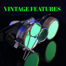 Load image into Gallery viewer, Steampunk Goggles in Victorian style with Compass Design,UV glow Neon Green lenses & ocular Loupe