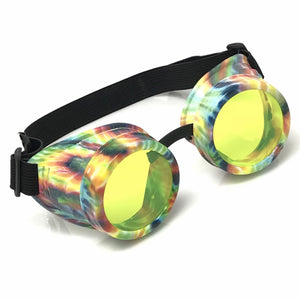 UV Glow in The Dark Steampunk Goggles Retro Round Rave Glasses, Rainbow Frame- Neon Green Lenses