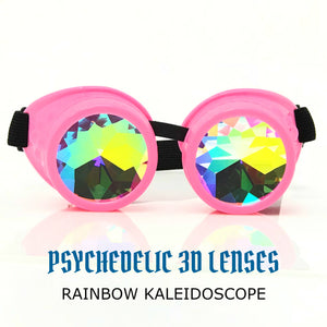 Rave Kaleidoscope Glasses for EDM music festival, Steampunk Diffraction Goggles, Neon baby pink frame